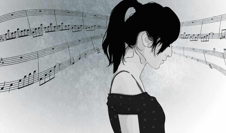 вектор, девушка, лицо, музыка, волосы, profile, ноты,
