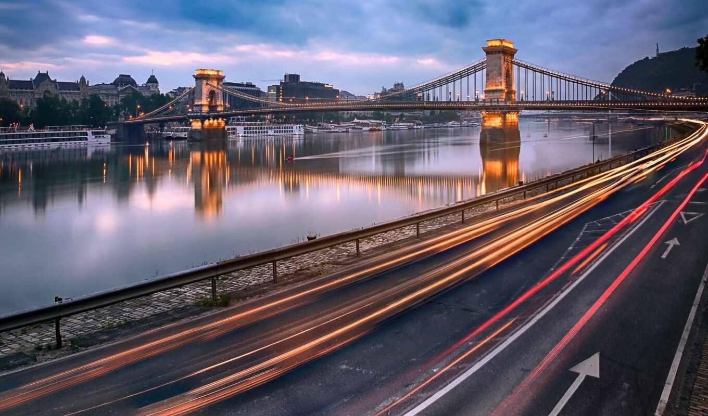 hungary, река, мост, budapest, цепь, дунай