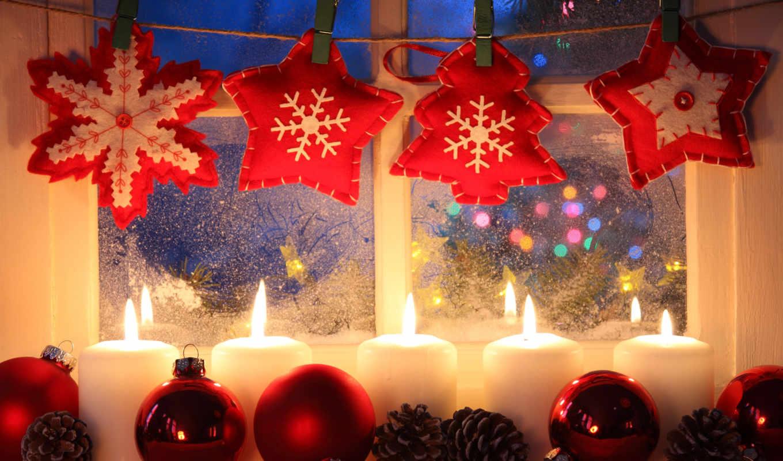 год, new, окно, свечи, праздники, окна, christmas, okon, шарики,