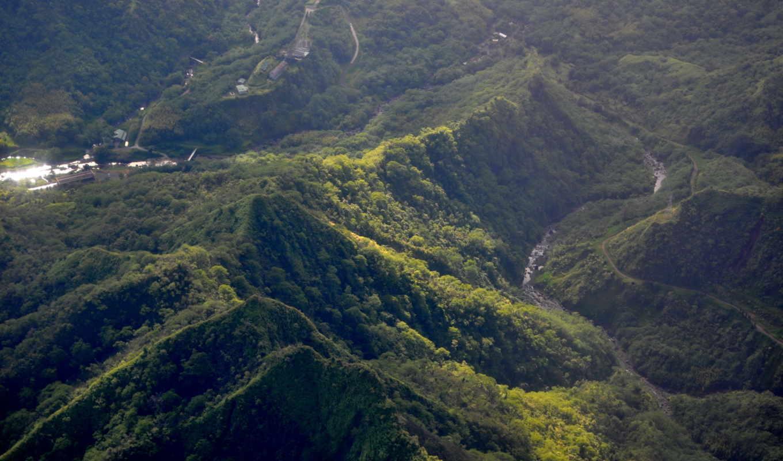 priroda, пейзаж, сверху, горы, полинезия, французская, небо, oblaka, ozero, сша, тропики,