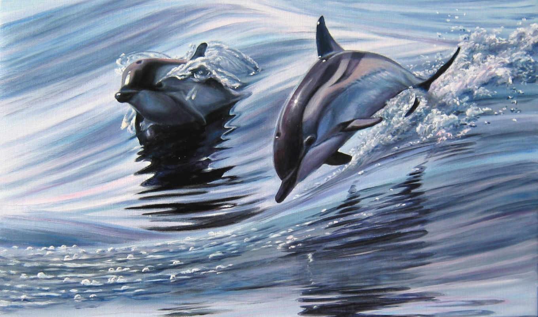 дельфины, живопись, zhivotnye, полет, самарская, elena,