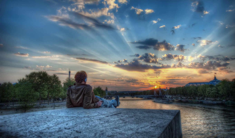 закат, париж, город, небо, вечер, река, времён, закаты, города, oblaka,