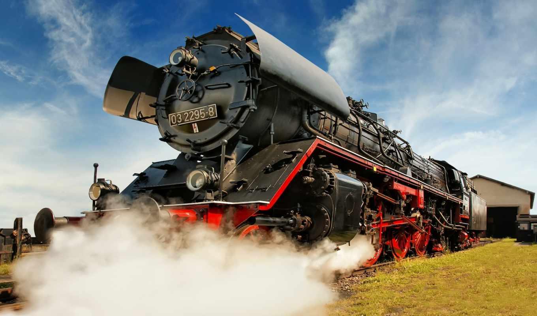 совершенно, поезд, steam, локомотив,