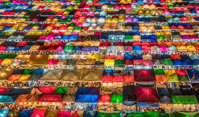 market, ночь, bangkok, tent, malam, colorful
