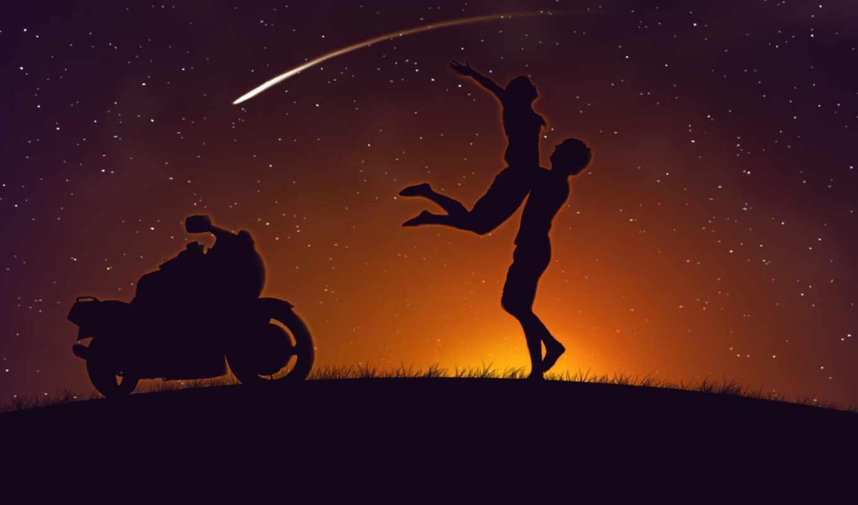 мотоцикл, закат, девушка, парень, star, love
