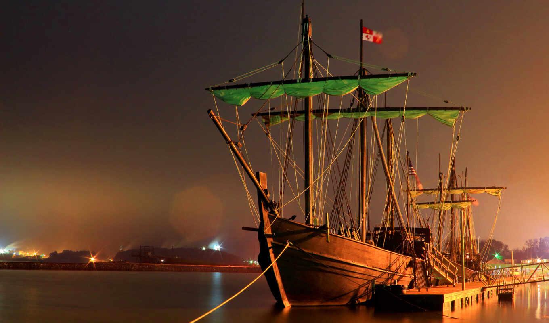 sailboat, ночь, корабль