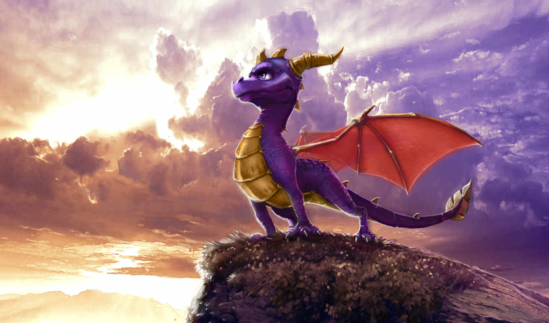 spyro, рисунок, дракон, облака, legend, dawn, free,