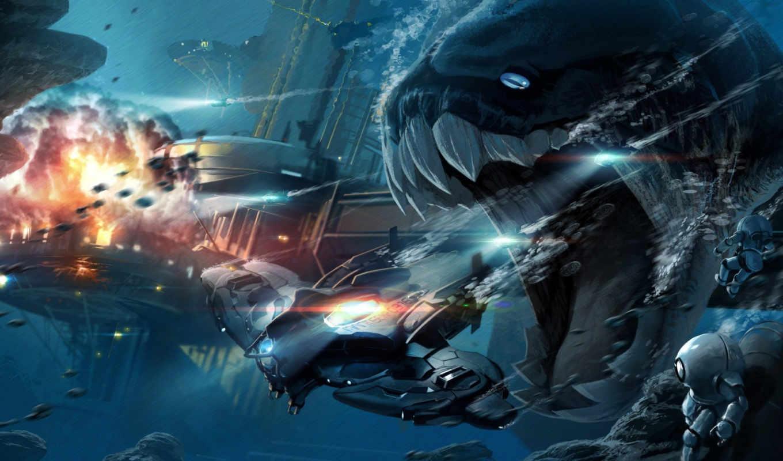 пасть, монстр, eel, корабль, google, skin, adventure,