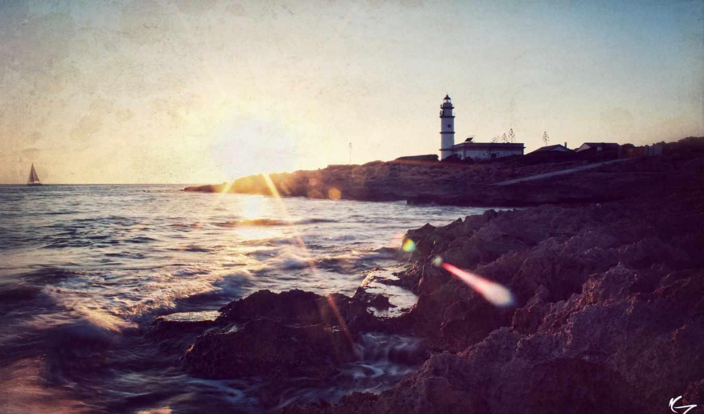 стилизация, маяк, море,