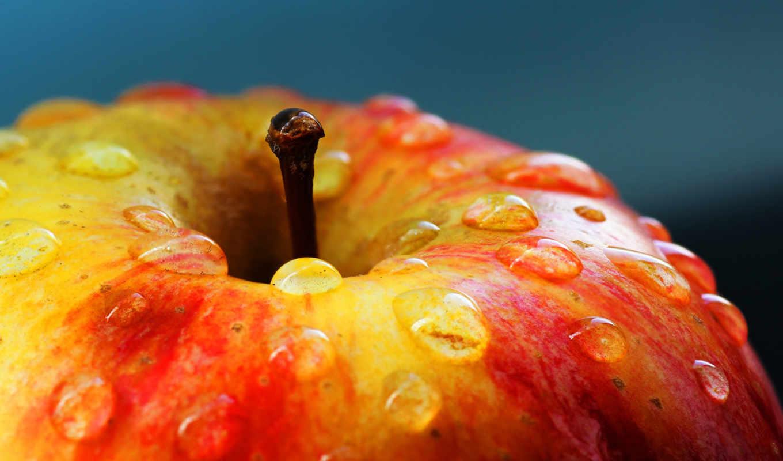 apple, рисунок, капли, макро, красное, разных,