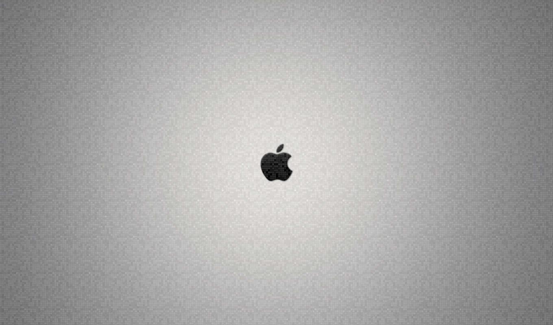 apple, лого, белый, серый