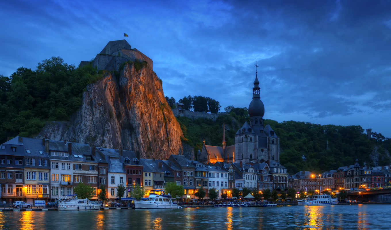 бельгия, город, дома, река, мост, wallonia, ночь, яхта, dinant,