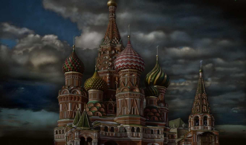 храм, cathedral, василия, кремля, храмы, москва, небо, московского, блаженного, иней,