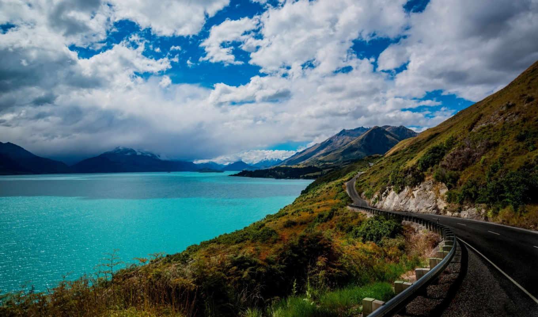 road, море, природа, трава, горы, железная, небо, изображение,