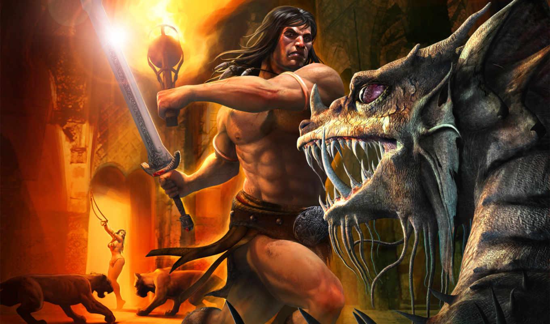 картинка, conan, игра, эпизод, age, бой, games, меч, игры, атлет, факел, огонь, звери, защитник, воин, девушка, монстр, сражение, клыки, вертикали, имеет, горизонтали, конан,