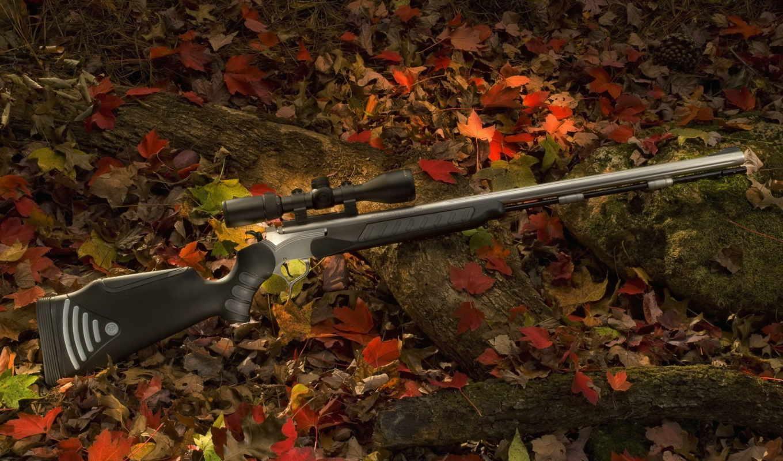 оружие, винтовка, снайперская, лес, листва, бревно