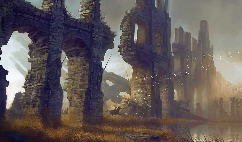 руины, стена, птицы, всадники, пруд, art,