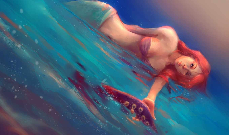 русалка, art, море, русалки, лежит, fantasy, рука, fish,