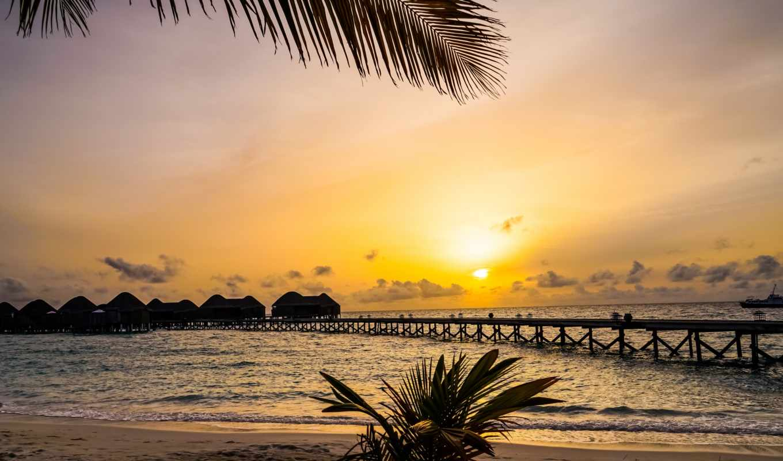 закат, море, maldives, tropics, günəş, batımı, берег,