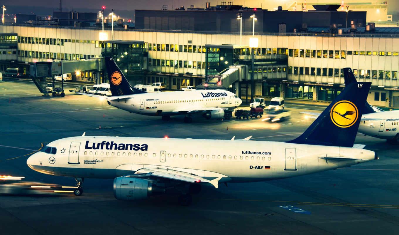 аэропорт, lufthansa, вечер, картинка, free, planes, картинку, кнопкой, you,