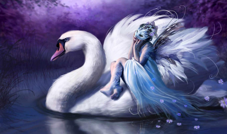 swan, das, white, girl, hintergrundbilder, download, fantasy, riding, sa, den, mädchen, красота, woman, digital, art, cisnes, customity,
