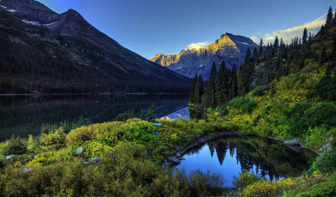 lake, nature, mountain, forest, green, landscape, pictures, горы, mountains, небо, река,
