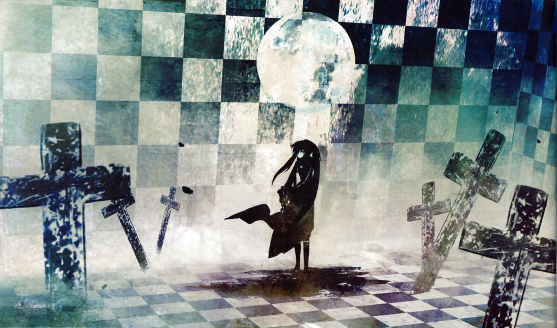rock, black, shooter, стрелок, мистика, черной, скалы, ёисока, мато, курои, кресты, луна, синобу, арт, картинку,