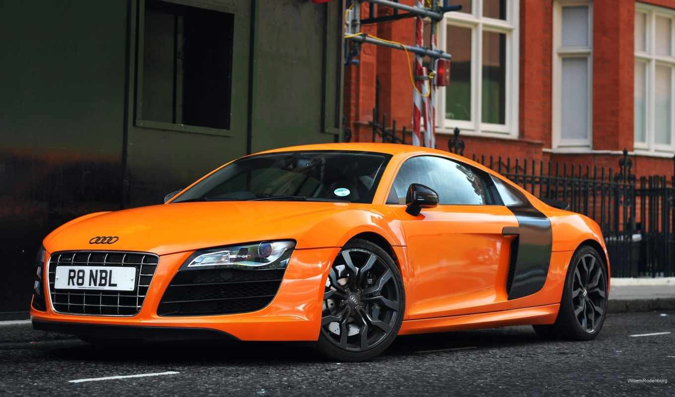 audi, orange, desktop, cars,