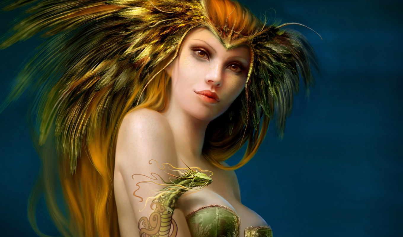 девушка, девушки, фэнтези, перья, сказочный, характер, волосы,