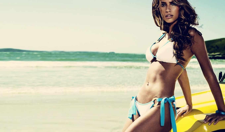 девушка, море, пляж, океан, небо, девушки, красотка,