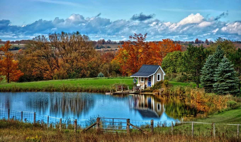 природа, осень, landscape, house, деревья, озеро, облака,