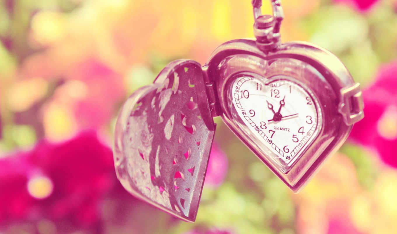 часы, сердечки, love, разрешением, карманные, форме, широкоформатные, разрешениях,