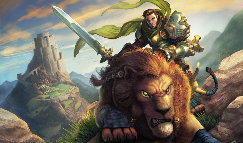 воин, art, lion, world, warcraft, меч, замок, всадник, мужчина,