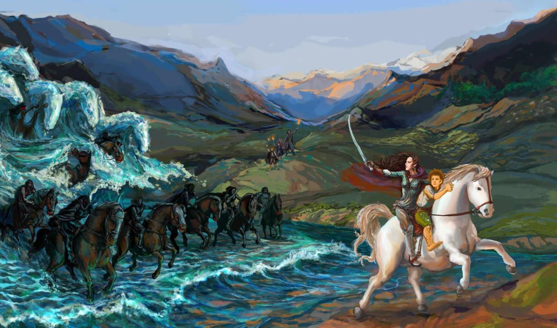 лошади, fantasy, lord, escape, rings,