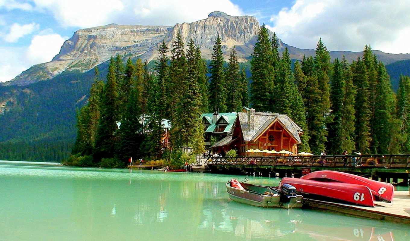 emerald, озеро, boats, pulpit, mountains, coming, tapet,