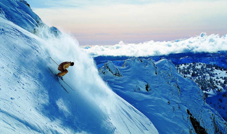 спуск, горы, горные, лыжи, снег, экстрим, гора,