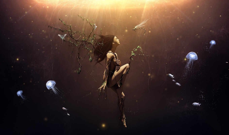 водой, под, девушка, арт, медузы, дерево, море, об