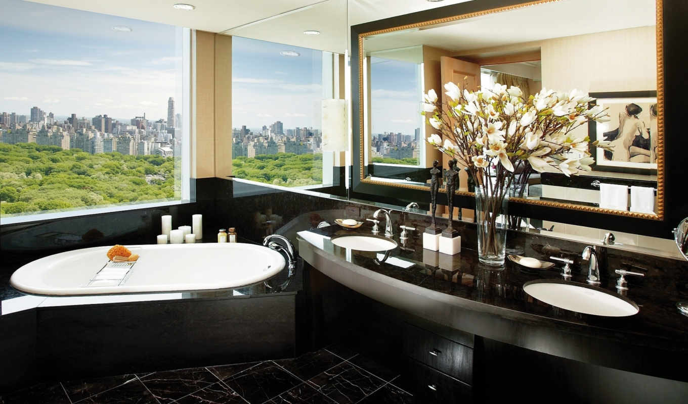bathroom, oriental, дизайн, интерьер,, mandarin, hotel, york, new, ideas, glamour,