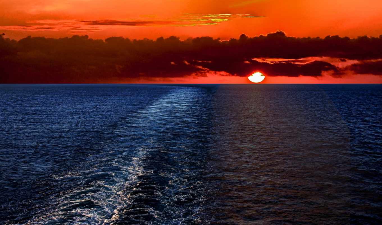 природа, солнце, небо, море, пейзаж, закат, облака,