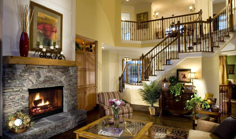 гостиной, кантри, стиле, уровень, стиль, прошлого, предметы, гостиная,