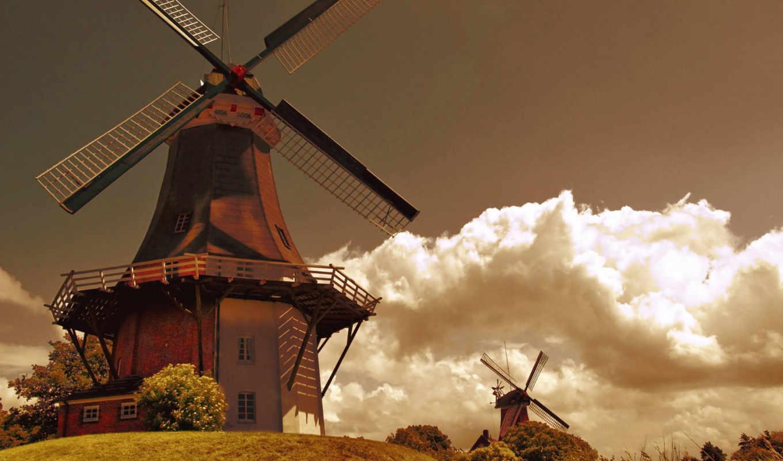 holland, mill, мельницы, трава, облака, небо, поле, ветер,