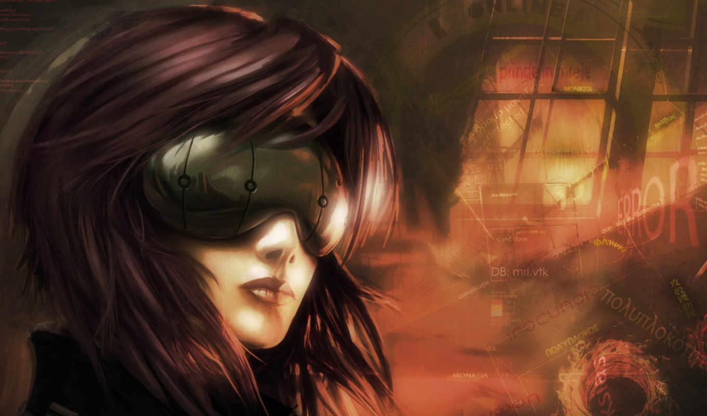 anime, cyberpunk, devushki, ghost, доспехах, kusanagi, art, брюнетки, красивые, девушка,