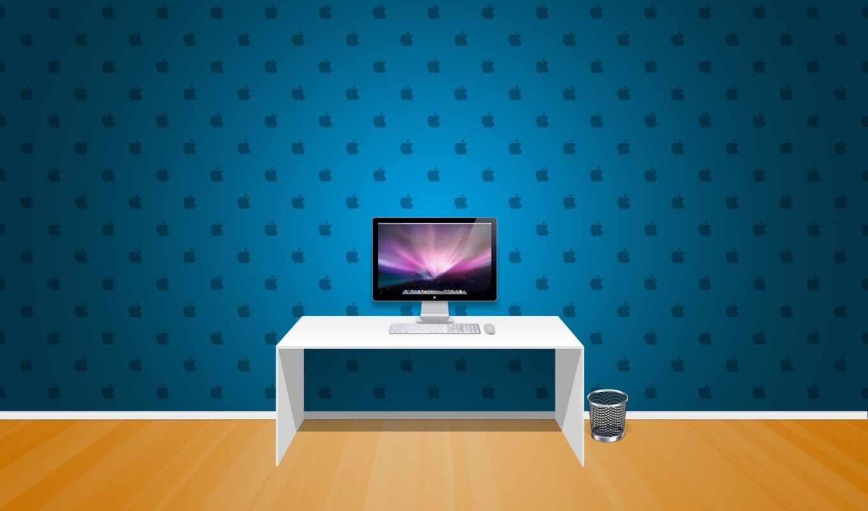 обои, apple, комната, компьютер, room, cкачать, te