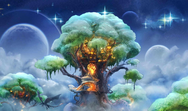 фэнтези, дерево, арт, небо, домик, планеты, дракон, звезды, эльфийский, облака, флет,