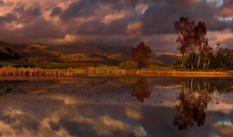 осень, облака, water, природа, небо, озеро, new, год, тучи, деревья, янв, лес,