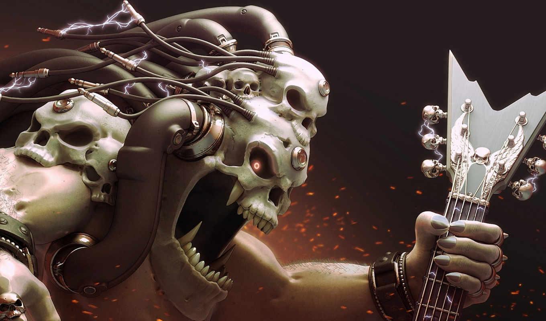 череп, electricity, art, голова, провода, monster,