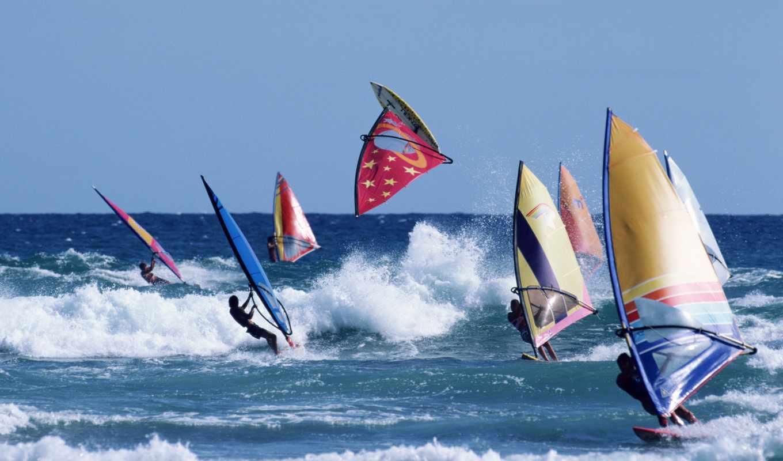 сёрфинг, паруса, windsurf, море,