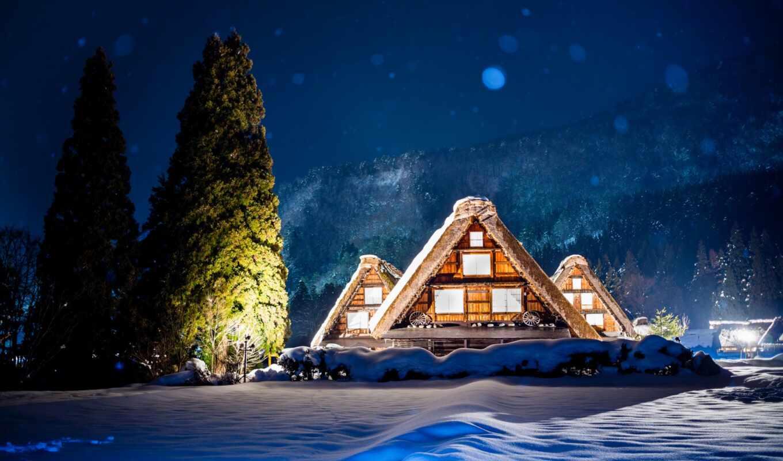 winter, гора, lodge, ночь, снег, house, дерево, подсветка, japanese