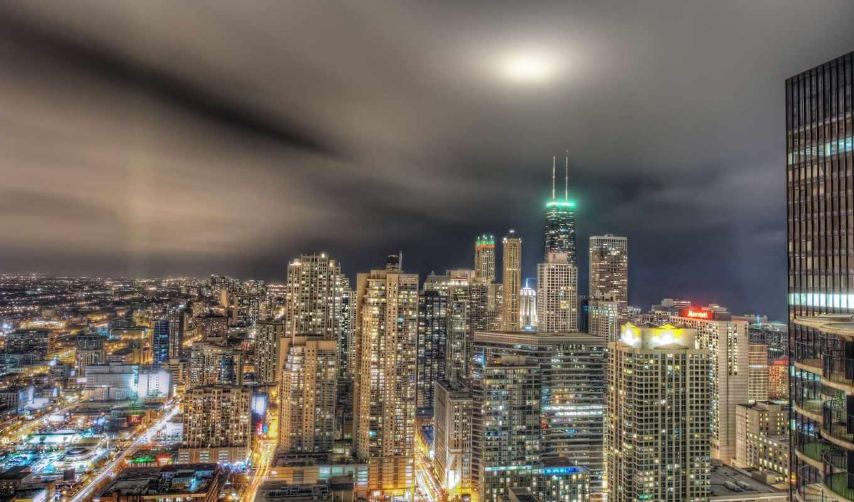 город, огни, здания, chicago, ночь, небоскребы,