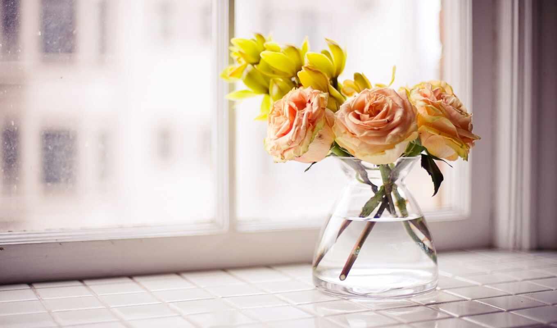 цветы, ваза, вазе, букет, розы, высоком,
